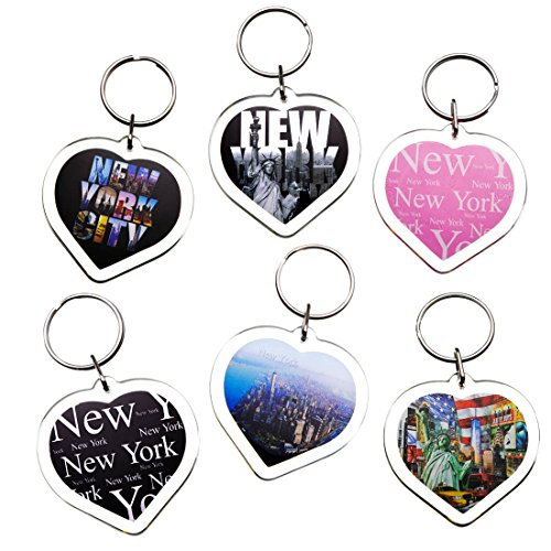 Ultimate Collectible Heart Shape New York NY NYC Manhattan Landmarks Photo Keychain Key Ring Gift Souvenir Set (6pk) (New York Keychain Souvenirs)
