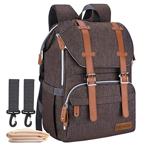 Diaper Bag Backpack, Large Baby Bag Multi-Function Waterproof Nappy Bag with Changing Pad and Stroller Straps for Unisex Travel Shopping (Coffee)