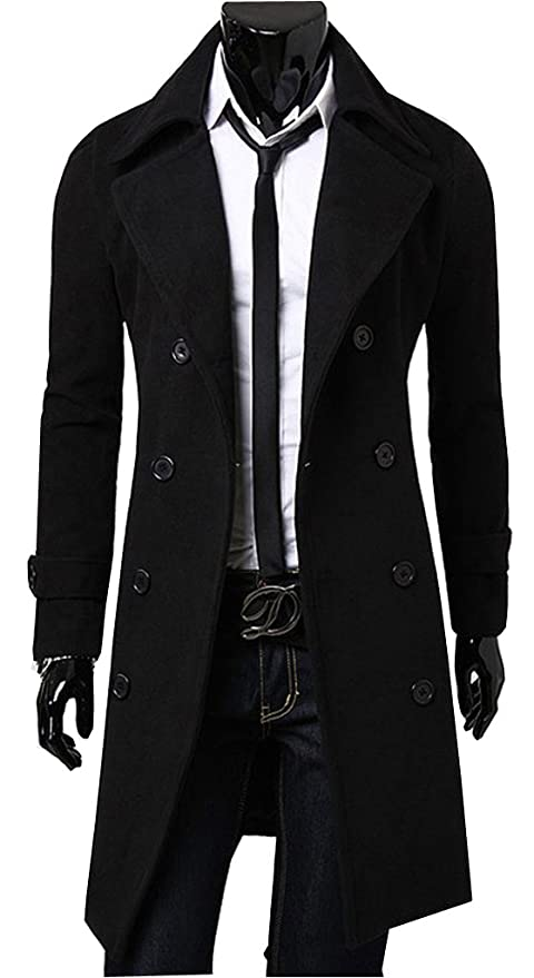 Uget Men's Trench Coat Winter Long Jacket Double Breasted Overcoat ...