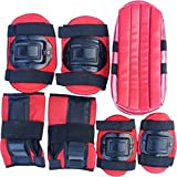 Krazy Fitness Multi-Sport Protection Kit for Skating and Cycling, Age 7-16 Years (Red/Blue/Black) - Set of 7