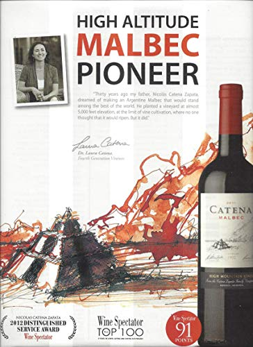 Magazine Promotional Print Ad For Catena Malbec High Altitude Wine