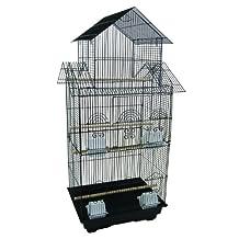 YML 6844BLK 3/8-Inch Bar Spacing Tall PagodaTop Bird Cage - 18-Inchx14-Inch in Black