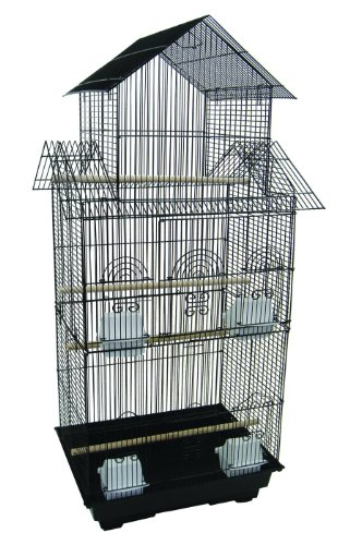 YML 18-Inch by 14-Inch Tall Pagoda Top Bird Cage, Black