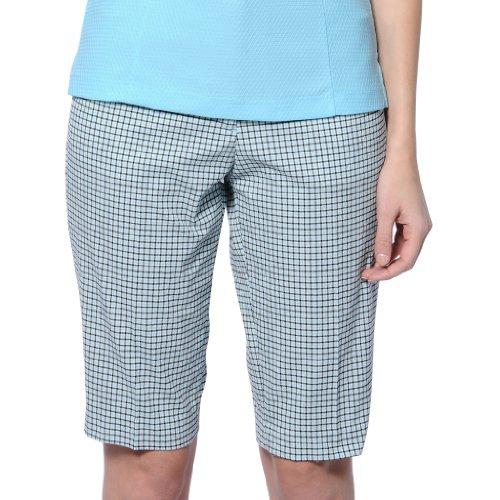 Monterey Club Ladies Stretchable Plaid Bermuda Shorts #2863 (White/Moderate Blue, Size:8)