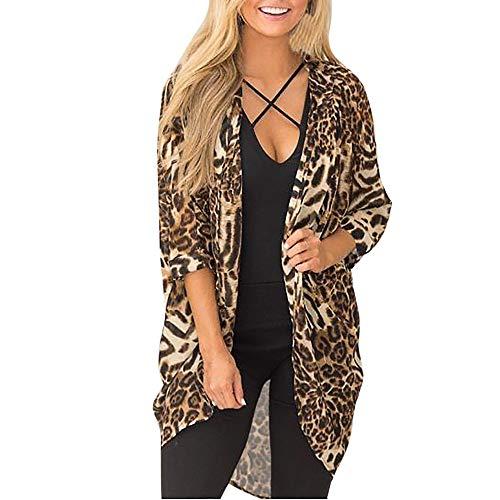 Shusuen ☁ Fashion Women V-Neck Top Leopard Casual Button T-Shirt Ladies Long Sleeve Loose Blouse