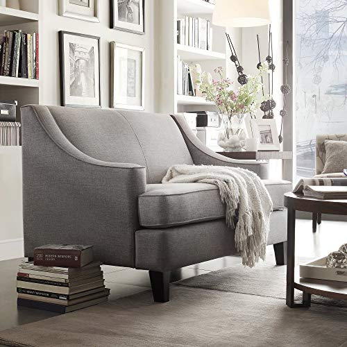 (Inspire Q Winslow Concave Arm Modern Loveseat by Bold Grey Linen)