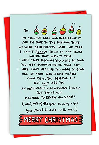 Box Set of 12 'Both Pretty Good' Hilarious Christmas Card Showing a heartfelt letter to a friend, with Envelopes C7078XSG-B12x1