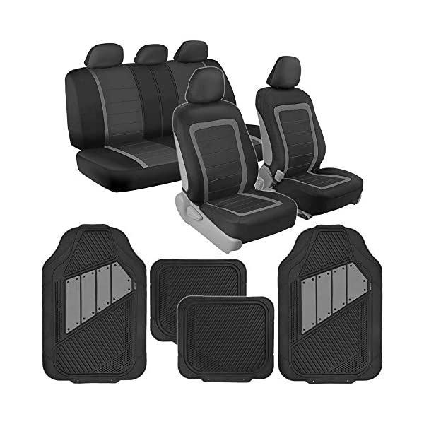 BDK Advanced Performance Car Seat Covers & Heavy Duty Rubber Floor Mats Black/Charcoal Combo