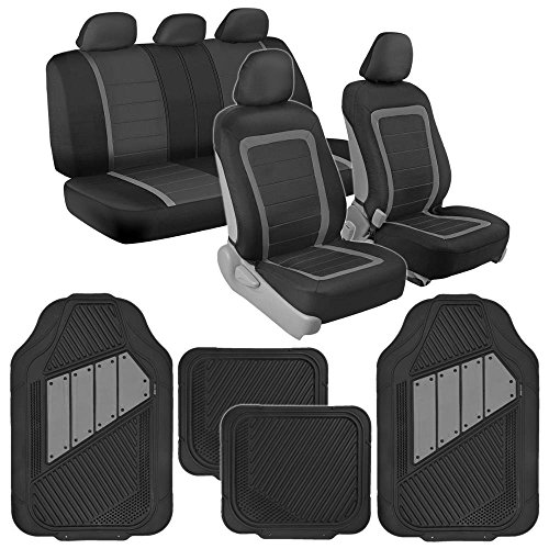 BDK Advanced Performance Black & Gray Charcoal Car Seat Covers & Heavy Duty Rubber Floor Mats Combo (w/Motor Trend 2-Tone Mats)