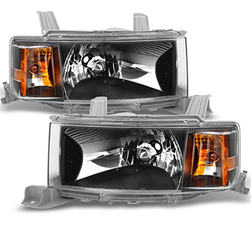 For Scion xB Black Front Headlights Head Lamps Driver Left + Passenger Right Side Replacement Pair Set