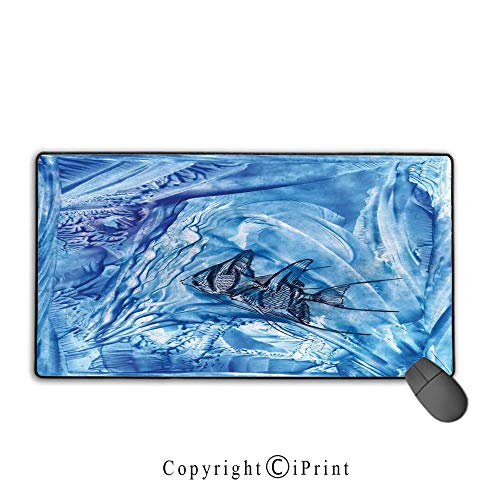 (Extended Mousepad with Durable Stitched Edges,Watercolor Flower House Decor,Small Fish in Creepy Snow Cover Ice Crystal Labyrinth Aquatic Theme,Blue,Suitable for laptops, computers, PCs, keyboards,9.8)