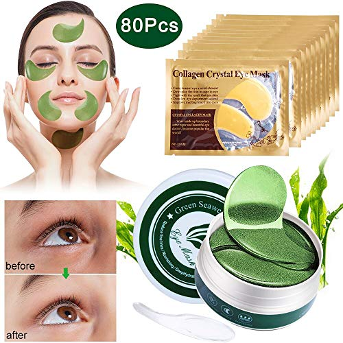 Outee Collagen Eye Masks, 40 Pairs Under Eye Patches Eye Masks Gold Collagen Pads Under Eye Treatment Kit with Mask Spoon for Wrinkles and Puffiness