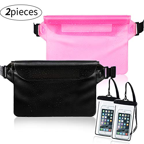 - Weewooday 2 Pieces Waterproof Waist Pouch and 2 Piece Black Waterproof Phone Case Dry Bag for Boating Swimming Kayaking Beach Pool Water Parks, Keeping Phone Wallet Safe and Dry (Color Set 3)