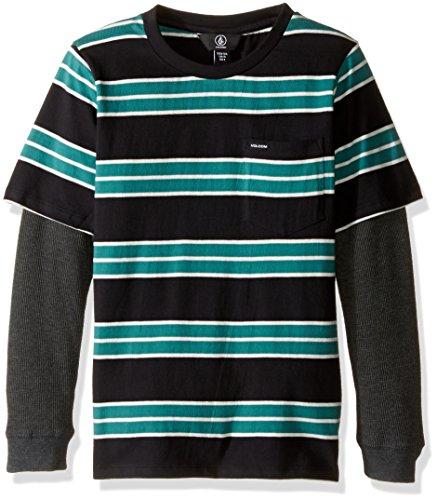 Volcom Boys' Little Boys' Pacific Crew Long Sleeve Shirt Youth, Stealth, 6