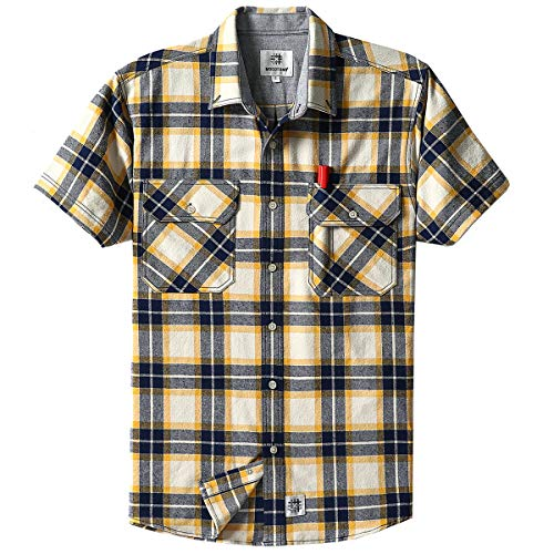 Men's Short Sleeve Plaid Checkered Button Down Casual Shirts Navy & Yellow ()