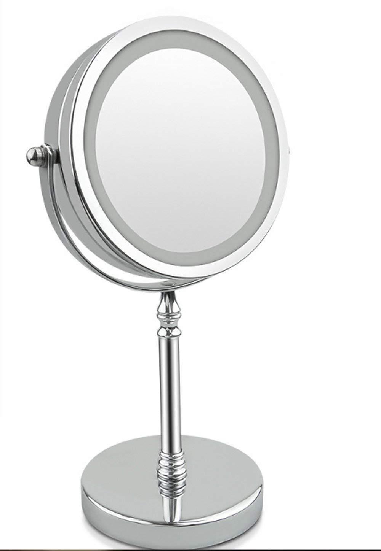 NRG Clever® LMR10X, Doppio Specchio 1X e 10X, illuminazione LED su entrambi i lati, Base pesante, 360 ° di rotazione, 10X di ingrandimento, rotondo con LED, perfetto per la barba e trucco.