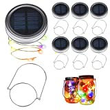 magnificent design ideas outdoor patio Solar Mason Jar Lights, BizoeRade Dual Row Solar Powered 10 LED Fairy Firefly String Lights(6 Pack Lid Lights and 6 Hangers Included),Fit Regular Mouth Mason Jars for Outdoor Decoration -Multicolor