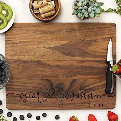 - Script Font Personalized Cutting Board Names Joined With A Heart Established Date