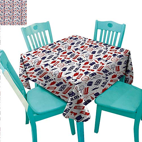 London Square Polyester Tablecloth United Kingdom Country Themed Symbols Pattern in National Flag Colors Washable Polyester - Great for Buffet Table, Parties, Holiday Dinner, Wedding & More -