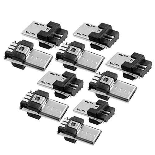Uxcell a12071300ux0267 Micro USB Type A Male 5 Pin Connectors Jack (Pack of 10)