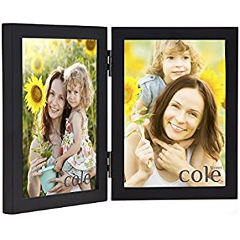 philip whitney black wooden hinged double 5x7 picture frame - Double 5x7 Picture Frame