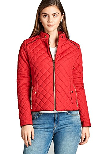 Active USA Women's Long Sleeve Quilted Padding Jacket with Suede Piping Zipper Pocket Winter Outerwear J1410 (S, (Suede Piping)