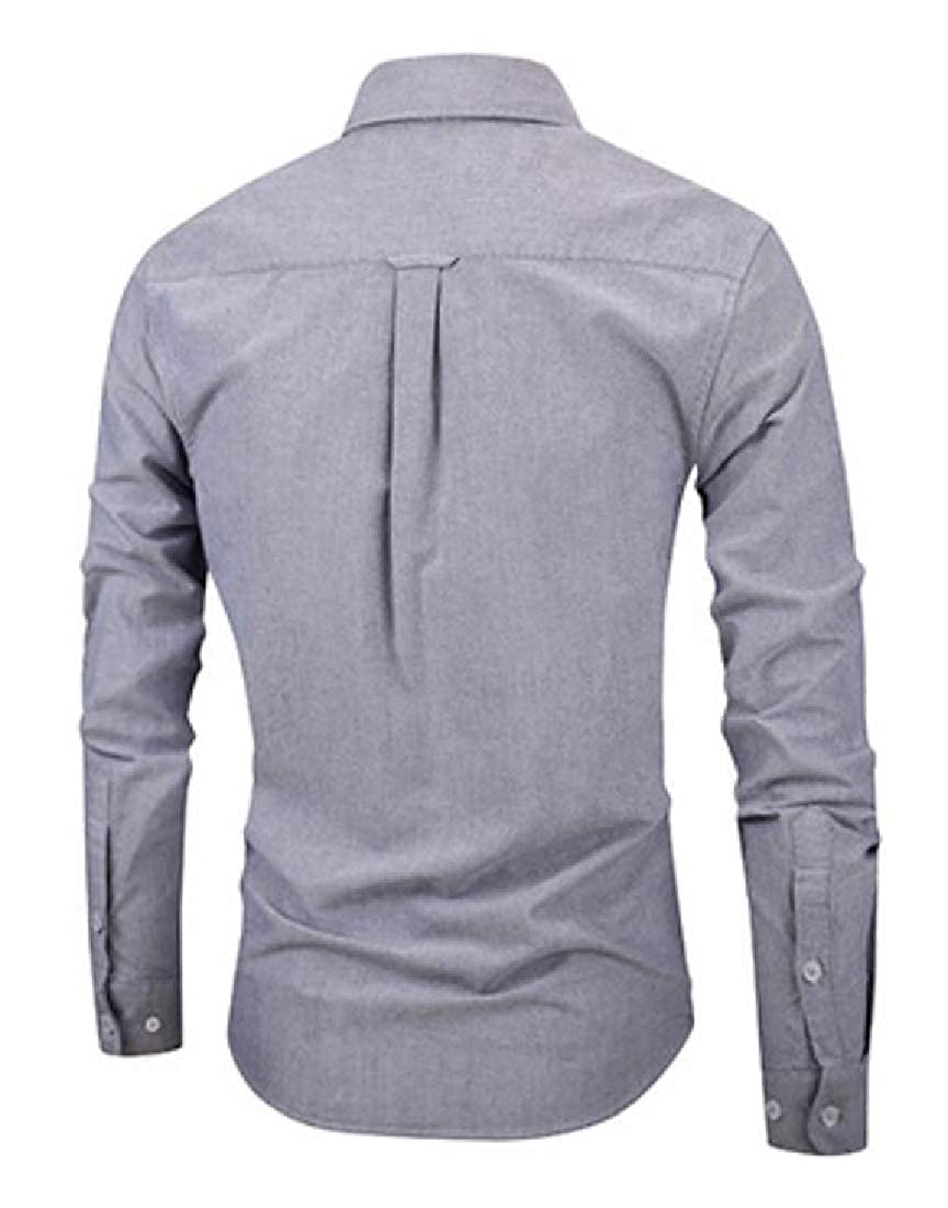 Suncolor8 Men Slim Business Plain Cotton Long Sleeve Button Up Dress Work Shirt