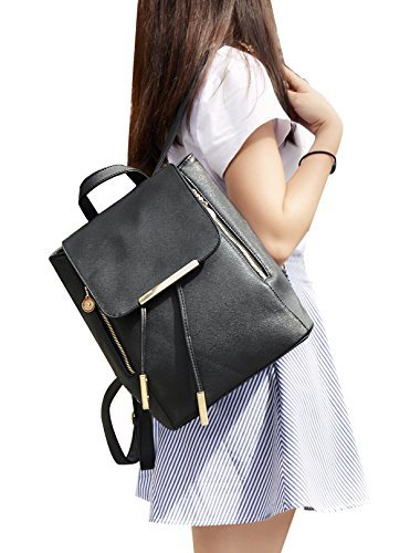 8m mujeres niñas señoras mochila Fashion piel sintética bolsa de hombro mochila bolsa de viaje (negro)