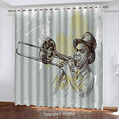 Satin Grommet Window Curtains Drapes [ Jazz Music,Trumpet Player Illustration Rock and Roll Party Classic Artful Design,Gray Yellow Black ] Window Curtain for Living Room Bedroom Dorm Room Classroom K