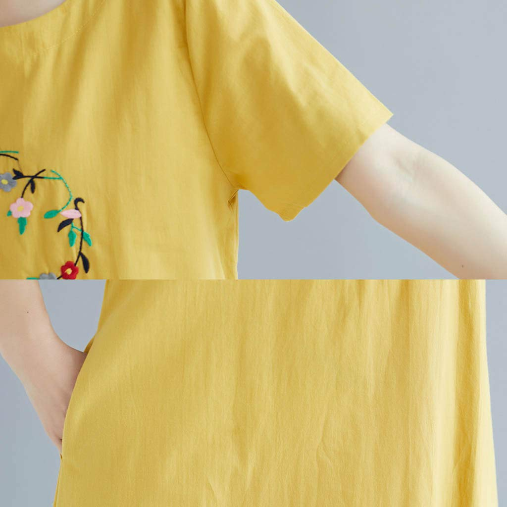 Yellsong Loose Embroidery Dress,Retro Casual Embroidery Loose Cotton Linen O Neck Sleeve Dress Women Plus Size Dresses Short Sleeve Cold Shoulder Casual T-Shirt Swing Dress with Pockets by Yellsong-Clothing (Image #3)