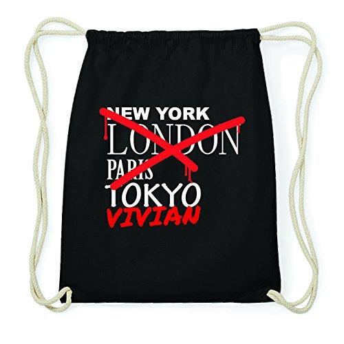 JOllify VIVIAN Hipster Turnbeutel Tasche Rucksack aus Baumwolle - Farbe: schwarz Design: Grafitti