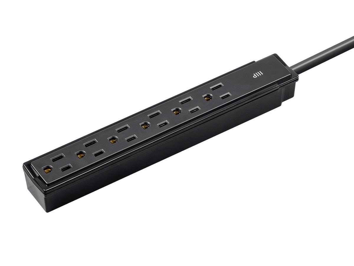 Monoprice 2-Pack 6 Outlet Surge Protector Power Strip - Black - 2ft Heavy Duty Cord | UL Rated, 201 Joules, 1800-watt capacity