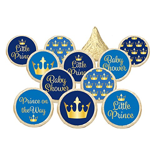 Price comparison product image Little Prince Royal Baby Shower Stickers - Gold and Blue (Set of 324)