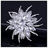 LAYs Women Jewelry Brooch Pin Rhinestone Lapel Pin for Wedding Bridal Bouquet Party Dress (White)