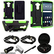 Mstechcorp - LG LS770, H631 G4 Stylus (Sprint), G Stylo (T-Mobile, Boost Mobile, MetroPcs), Belt Clip Holster Case Cover Dual Layer Hybrid Armor Protector - Belt Clip Holster Cover with Kickstand and Locking Swivel Belt Clip Case - Includes Wall Charger + Car Charger+ 2 Data Cable + Touch Screen Stylus + Hands Free Earphone With Carrying Case (ADVANCED ARMOR GREEN)