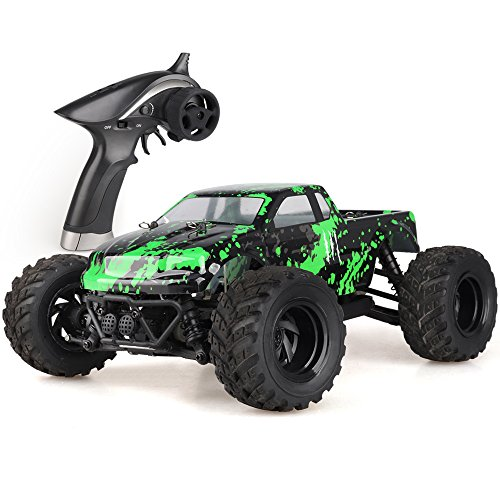 Wisleo RC Trucks 1/18 Scale High Speed 4WD Electric Racing Waterproof Cars Off Road Remote Control Vehicle (Green)