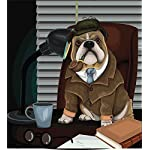 Ambesonne English Bulldog Duvet Cover Set, Traditional English Detective Dog with a Pipe and Hat Sherlock Holmes Image, Decorative 2 Piece Bedding Set with 1 Pillow Sham, Twin Size, Pale Brown 4