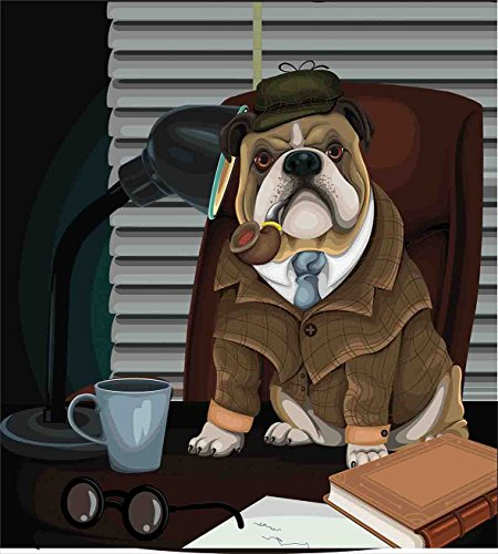 Ambesonne English Bulldog Duvet Cover Set, Traditional English Detective Dog with a Pipe and Hat Sherlock Holmes Image, Decorative 2 Piece Bedding Set with 1 Pillow Sham, Twin Size, Pale Brown 2
