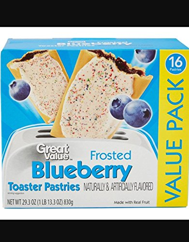 Great Value Frosted Blueberry Toaster Pastries, 16 count