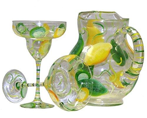 Lemon Lime Design 5-piece Margarita Set. Hand Painted