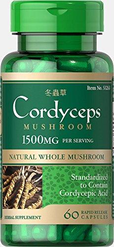 - Puritans Pride Cordyceps Mushroom 1500 milligram, 60 Count