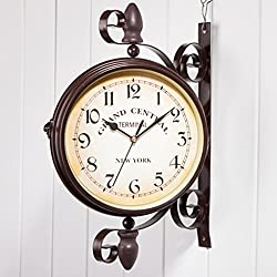 Nclon Retro Double-sided Wall Clock,Mute Silent Quiet Wrought Iron Round Large Metal European Wall Clock 37 38cm