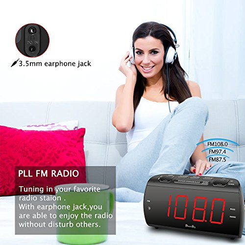 DreamSky Alarm Clock Radio With FM Radio And USB Port For Phone Charger , 1.8  Large LED Digit Display With Dimmer , Snooze , Sleep Timer , Earphone Jack, Outlet Powered And Battery Backup .