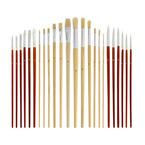 (US Art Supply 24 piece Oil & Acrylic Paint Long Handle Artist Paint Brush Set with Canvas Roll-Up Storage Wrap )