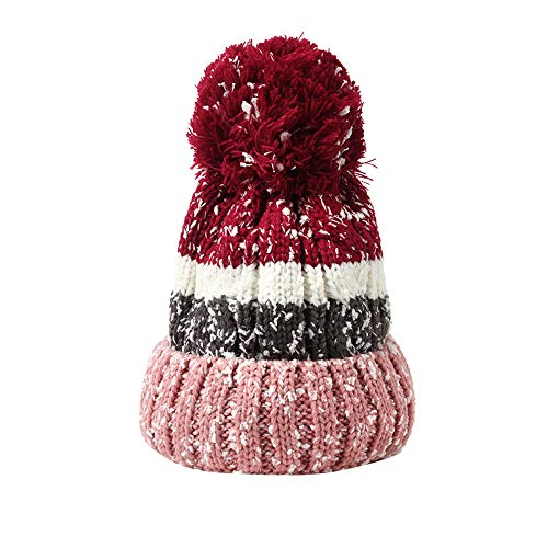 - FEDULK Women's Hat Winter Warm Thick Cable Knitted Chunky Baggy Slouchy Pom Pom Beanie(E, One Size)