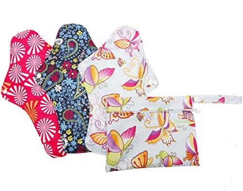 Wegreeco Super Long Reusable Menstrual Pads (Pack of 3) with 1 Mini Bag, Grey Charcoal Bamboo Lining