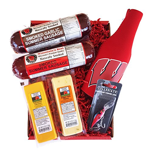 Badger Fan Fishing Gift Basket - features Smoked Summer Sausage,100% Wisconsin Cheese Fishing Lure and Bottle Cooler! Perfect Christmas Holiday Gift Basket for Wisconsin Badger Fans.
