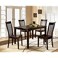 Ashley Hyland D258-225 5-Piece Dining Room Set with Dining Room Table and 4 Chairs in Reddish