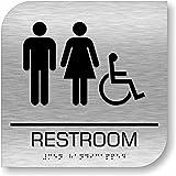 Brushed Aluminum ADA Restroom Sign
