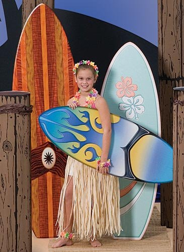 Tropical Luau Summer Surfboard Cutout - Set of 3 Party Props Standup Photo Booth Background Backdrop Decoration Decor Scene - Tropical Surfboard